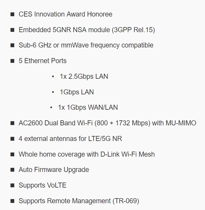 D-Link 5g router features